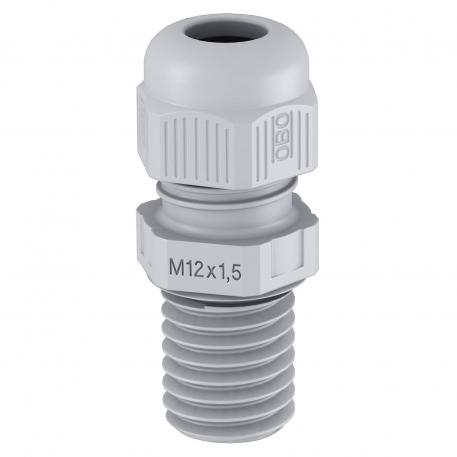 Cable gland, long metric thread, silver grey