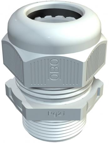 Cable gland, long PG thread, silver grey