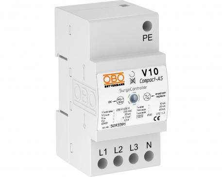 Surge arrester V10 Compact with audible signalling 255 V