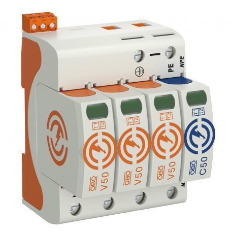 Combination arrestor V50, 3-pole + NPE with FS 385 V