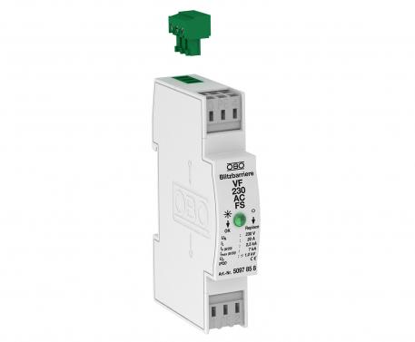 MCR protection for 2-pole power supply with remote signalling, 230 V AC