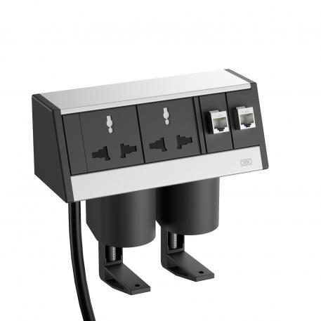 Deskbox with MS sockets, cable, open